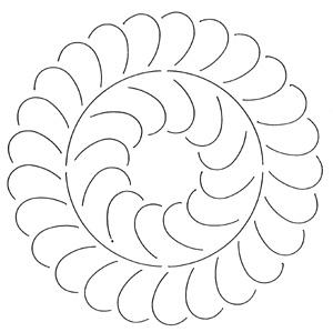 Quilteskabelon : Feather Circle